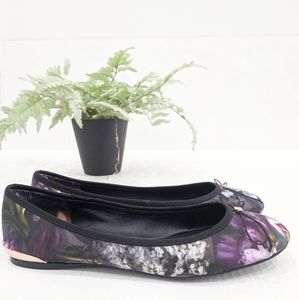 Ted Baker Imme Ballet Pumps Shadow Floral Satin 7